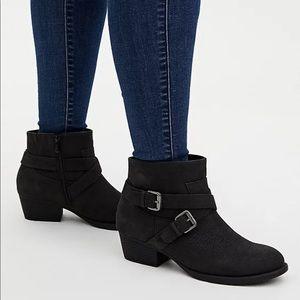 Torrid black booties size 11w. Nwob